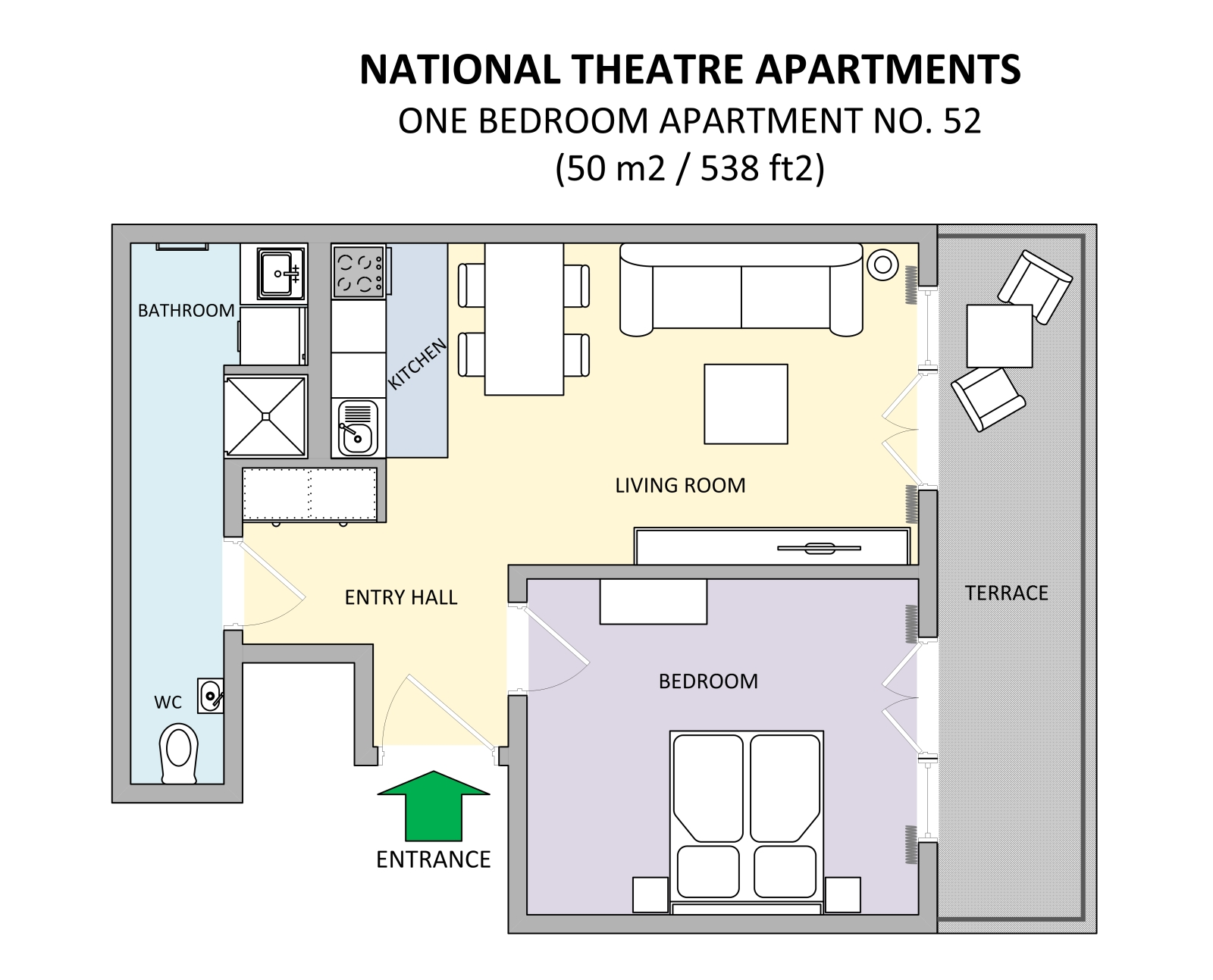 One Bedroom Apartment For Rent National Theatre 52 Floorplan Prague City Apartments