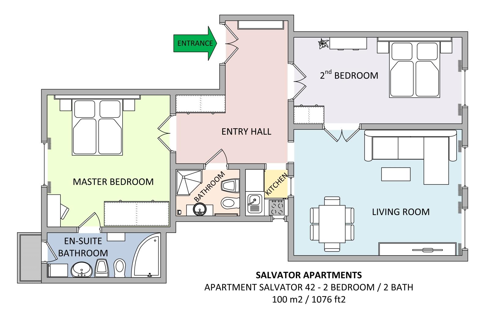 Floorplan Of Apartment 42 In Salvator Apartments Residence Prague